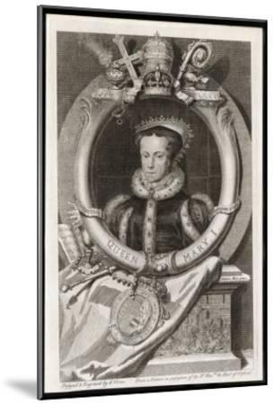 Mary Tudor Catholic Queen of England with the Motto Truth is the Daughter of Time-George Vertue-Mounted Giclee Print