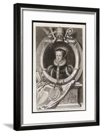 Mary Tudor Catholic Queen of England with the Motto Truth is the Daughter of Time-George Vertue-Framed Giclee Print