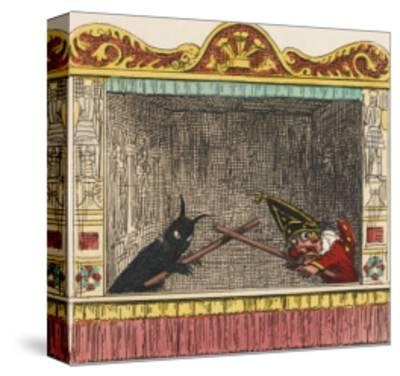 Punch Fights Old Nick-George Cruikshank-Stretched Canvas Print