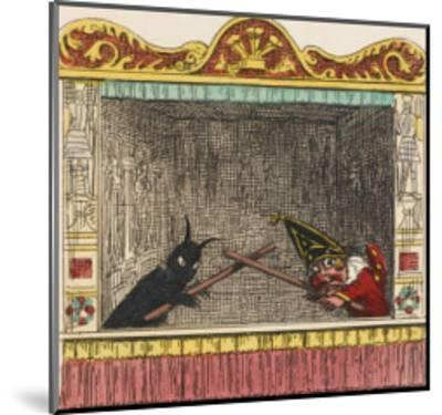 Punch Fights Old Nick-George Cruikshank-Mounted Giclee Print