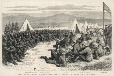 The End of the Zulu War, The Surrender of Native Chiefs to Sir G. Wolseley-Godefroy Durand-Stretched Canvas Print
