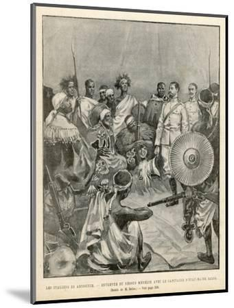 The Meeting of Menelik One of Ethiopia's Greatest Emperors with Major Salsa of the Italian Envoy- Belloc-Mounted Giclee Print