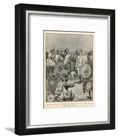 The Meeting of Menelik One of Ethiopia's Greatest Emperors with Major Salsa of the Italian Envoy- Belloc-Framed Giclee Print