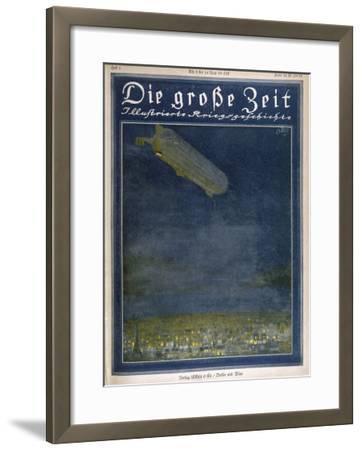 German Airship Hovers Menacingly Over Paris-Rodolf Czerny-Framed Giclee Print