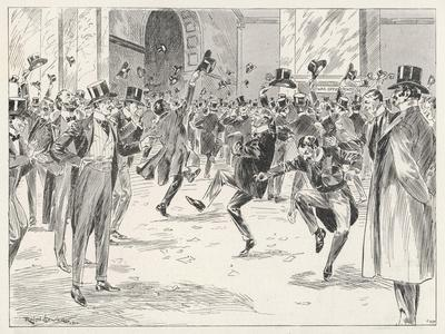 Stockbrokers Dance for Joy at News of the Boers' Surrender in the War in Africa-Ralph Cleaver-Stretched Canvas Print