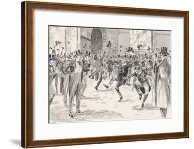 Stockbrokers Dance for Joy at News of the Boers' Surrender in the War in Africa-Ralph Cleaver-Framed Giclee Print