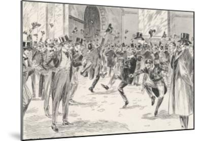Stockbrokers Dance for Joy at News of the Boers' Surrender in the War in Africa-Ralph Cleaver-Mounted Giclee Print