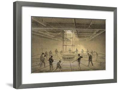"""The Cable Passes out from the Hold of the """"Great Eastern"""" onto the Deck-Robert Dudley-Framed Giclee Print"""
