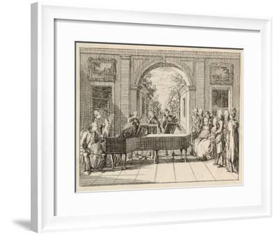 Five Instrumental Performers and a Singer Entertain an Aristocratic Audience in a Stately Home-Daniel Chodowiecki-Framed Giclee Print