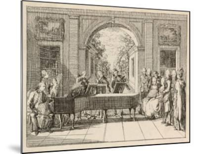 Five Instrumental Performers and a Singer Entertain an Aristocratic Audience in a Stately Home-Daniel Chodowiecki-Mounted Giclee Print