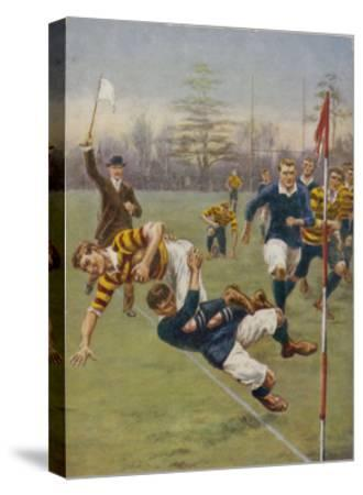 Nearly In!, a Timely Tackle Prevents an Attacking Player from Scoring a Try-S^t^ Dadd-Stretched Canvas Print