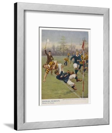 Nearly In!, a Timely Tackle Prevents an Attacking Player from Scoring a Try-S^t^ Dadd-Framed Giclee Print