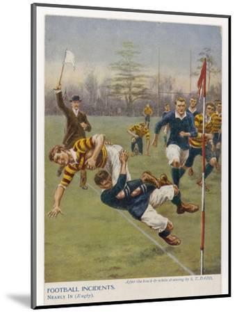 Nearly In!, a Timely Tackle Prevents an Attacking Player from Scoring a Try-S^t^ Dadd-Mounted Giclee Print