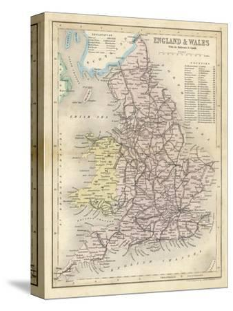 Map of England and Wales Showing Railways and Canals-James Archer-Stretched Canvas Print