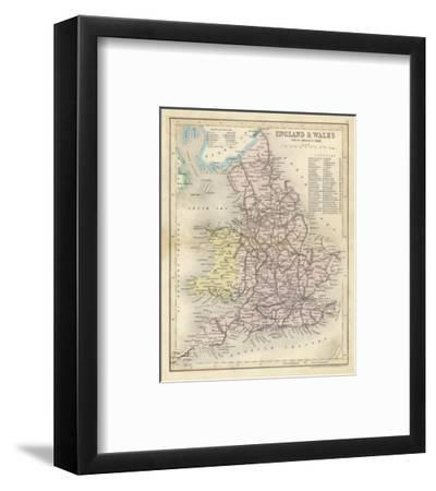 Map of England and Wales Showing Railways and Canals-James Archer-Framed Premium Giclee Print