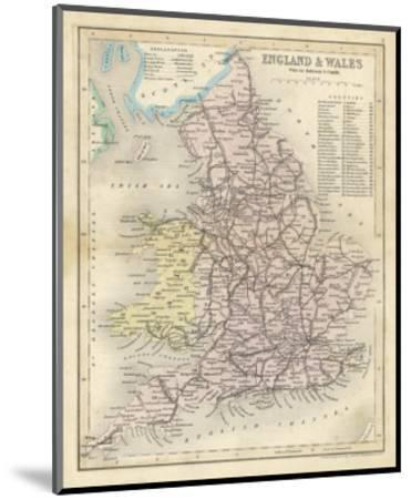 Map of England and Wales Showing Railways and Canals-James Archer-Mounted Premium Giclee Print