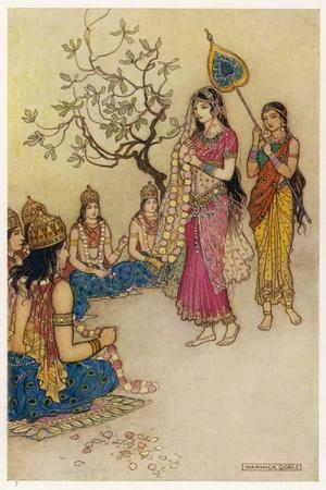 Damayanti Daughter of Bhima King of Vidarbha Chooses Prince Nala as Her Husband-Warwick Goble-Stretched Canvas Print