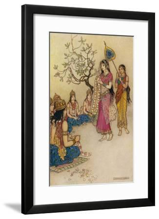 Damayanti Daughter of Bhima King of Vidarbha Chooses Prince Nala as Her Husband-Warwick Goble-Framed Giclee Print