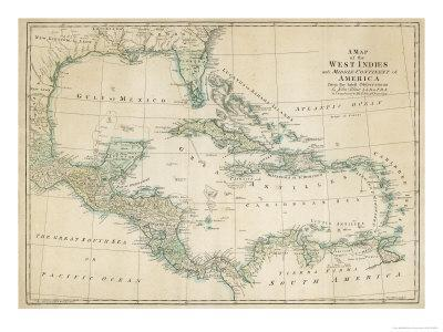 The Caribbean with the West Indies and the Coasts of the United States and the Spanish Possessions-John Blair-Premium Giclee Print