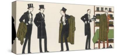 Gentlemen in Evening Dress Queue to Collect Their Overcoats from the Cloakroom-Bernard Boutet De Monvel-Stretched Canvas Print