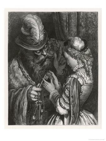 Bluebeard Warns Her About the Key to the Room She is Forbidden to Enter--Framed Giclee Print