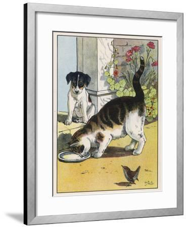 Cat Drinks a Saucer of Milk at a Doorstep Whilst Watched by a Dog-W^ Foster-Framed Giclee Print
