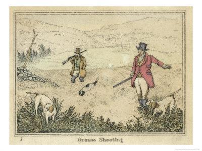 Grouse, Two Men and Their Dogs Walk up a Moor Hoping to Start up Some Grouse-Henry Thomas Alken-Framed Giclee Print