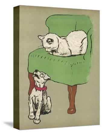 White Cat Relaxes on a Comfy Chair While a White Puppy Tries to Pull His Irritating Collar Off-Cecil Aldin-Stretched Canvas Print