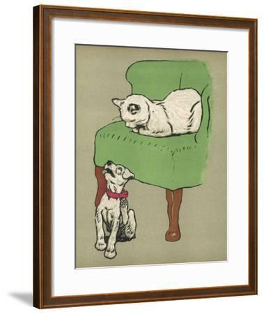 White Cat Relaxes on a Comfy Chair While a White Puppy Tries to Pull His Irritating Collar Off-Cecil Aldin-Framed Giclee Print