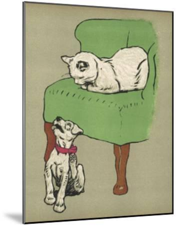 White Cat Relaxes on a Comfy Chair While a White Puppy Tries to Pull His Irritating Collar Off-Cecil Aldin-Mounted Giclee Print