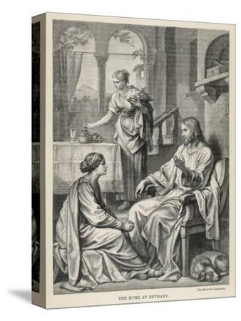 Jesus Talks with Mary While Martha Does Housework-Heinrich Hofmann-Stretched Canvas Print