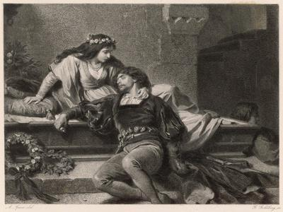 Romeo and Juliet, Act V Scene III: Juliet Wakes in the Vault to Find Romeo Dead-G. Goldberg-Stretched Canvas Print