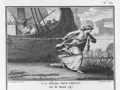 Claudia Quinta Clears Her Name by Dragging a Ship Bearing a Statue of the Mother Goddess into Rome-Augustyn Mirys-Stretched Canvas Print