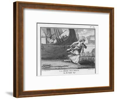 Claudia Quinta Clears Her Name by Dragging a Ship Bearing a Statue of the Mother Goddess into Rome-Augustyn Mirys-Framed Giclee Print
