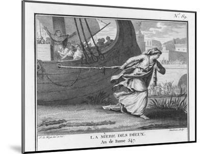 Claudia Quinta Clears Her Name by Dragging a Ship Bearing a Statue of the Mother Goddess into Rome-Augustyn Mirys-Mounted Giclee Print