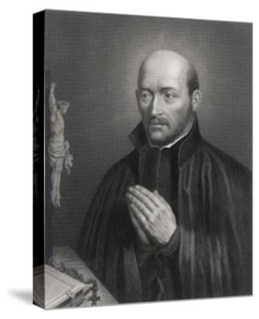 Ignatius Loyola Spanish Saint Founder of Society of Jesus (Jesuits) in an Attitude of Prayer-C. Holl-Stretched Canvas Print