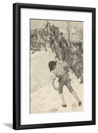 Napoleon Circa 1780 Attacking Snow Forts at the Military School at Brienne-Louis Loeb-Framed Giclee Print