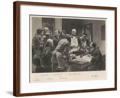 The French Doctor Claude Bernard with a Group of His Colleagues Probably at the College de France- Lhermitte-Framed Giclee Print