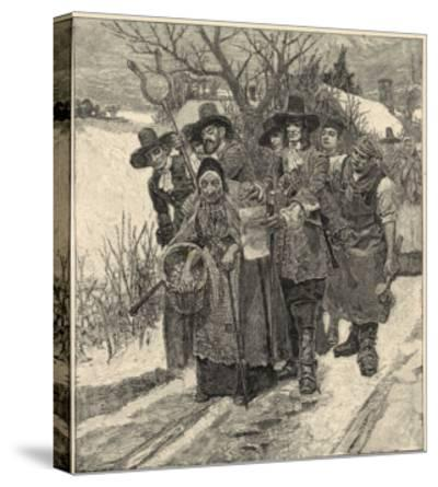 An Old Woman is Arrested as a Witch-Howard Pyle-Stretched Canvas Print