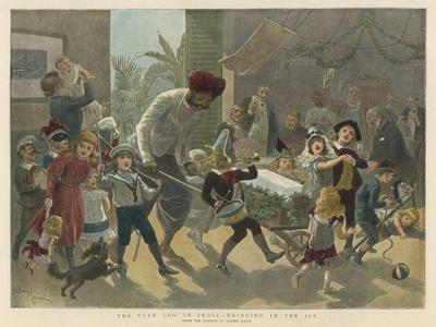 British Residents in India Bring in a Bar of Ice Instead of the Traditional Yule Log-Adrien Marie-Stretched Canvas Print