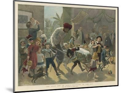 British Residents in India Bring in a Bar of Ice Instead of the Traditional Yule Log-Adrien Marie-Mounted Giclee Print