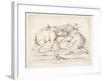 Two Elephants Fighting with Men on Their Backs- Lemaitre-Framed Giclee Print