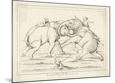 Two Elephants Fighting with Men on Their Backs- Lemaitre-Mounted Giclee Print