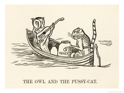 The Owl and the Pussy-Cat Went to Sea in a Beautiful Pea- Green Boat-Edward Lear-Framed Giclee Print