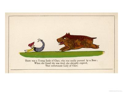 There was a Young Lady of Clare Who was Madly Pursued by a Bear-Edward Lear-Framed Giclee Print