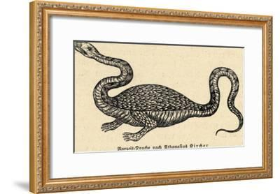 Two-Legged Non-Flying Dragon Perceived as an Animal Species Rather Than an Otherworldly Monster-Athanasius Kircher-Framed Giclee Print