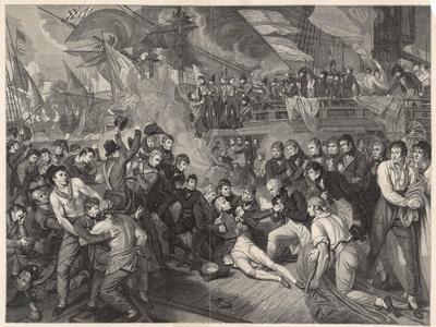 Nelson is Fatally Wounded on the Deck of the Victory-James Heath-Stretched Canvas Print