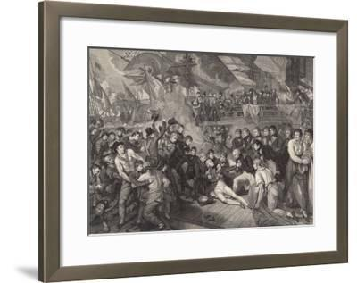 Nelson is Fatally Wounded on the Deck of the Victory-James Heath-Framed Giclee Print