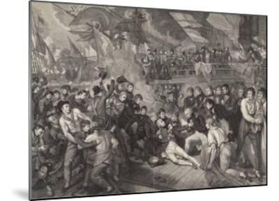Nelson is Fatally Wounded on the Deck of the Victory-James Heath-Mounted Giclee Print