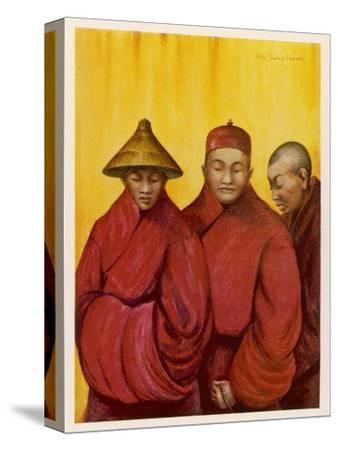 Tibetan Red Lamas-Henry Savage Landor-Stretched Canvas Print